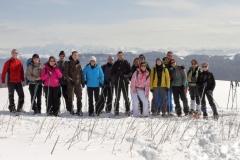 Raquettes dans le Jura, Massif du Mont Blanc en arrière plan